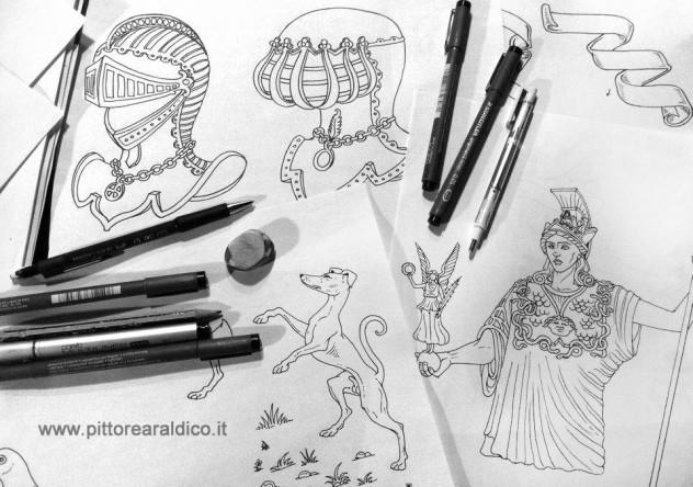 stemma_araldico_disegnato_a_mano_figure_araldiche_heraldic_artist